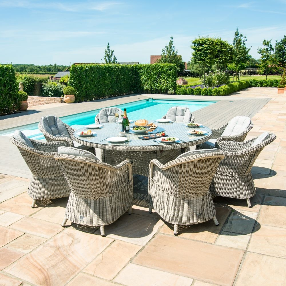 Maze Rattan Oxford Heritage 8 Seat Round Fire Pit Dining Set with Lazy Susan