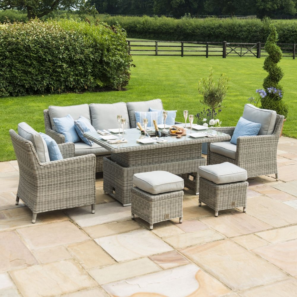Maze Rattan Oxford Sofa Dining Set with Ice Bucket and Rising Table