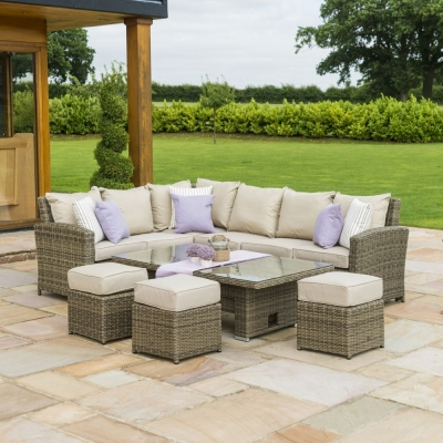 Maze Rattan Winchester Corner Dining Set with Rising Table