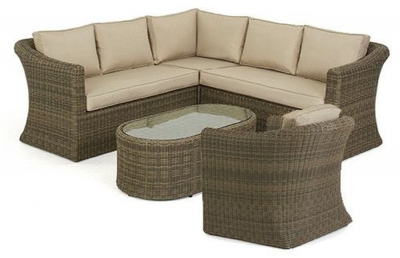 Maze Rattan Winchester Small Corner Group with Armchair