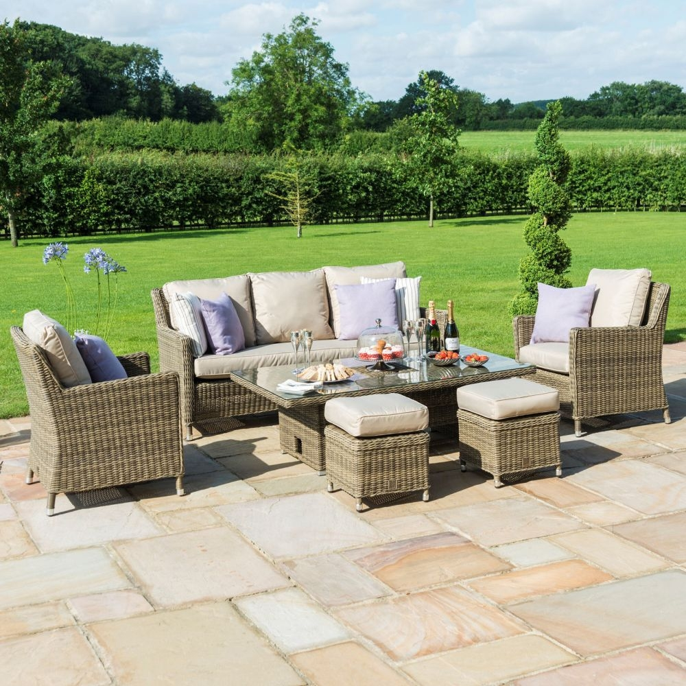 Maze Rattan Winchester Sofa Dining Set with Ice Bucket and Rising Table