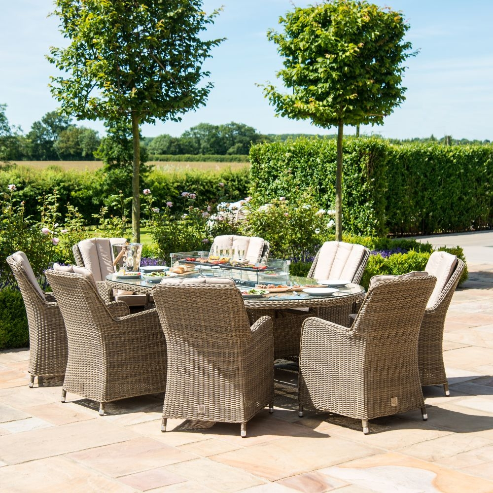 Maze Rattan Winchester Venice 8 Seat Round Fire pit Dining Set with Lazy Susan