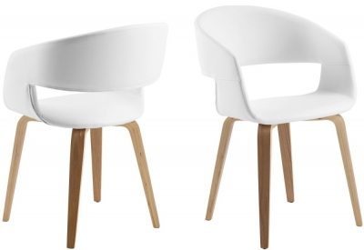 Nome White Faux Leather Dining Chair (Pair)