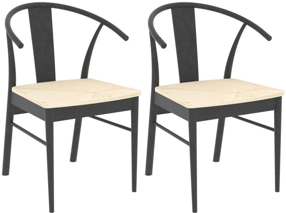Jamaica Black Stained Oak Dining Chair (Pair)