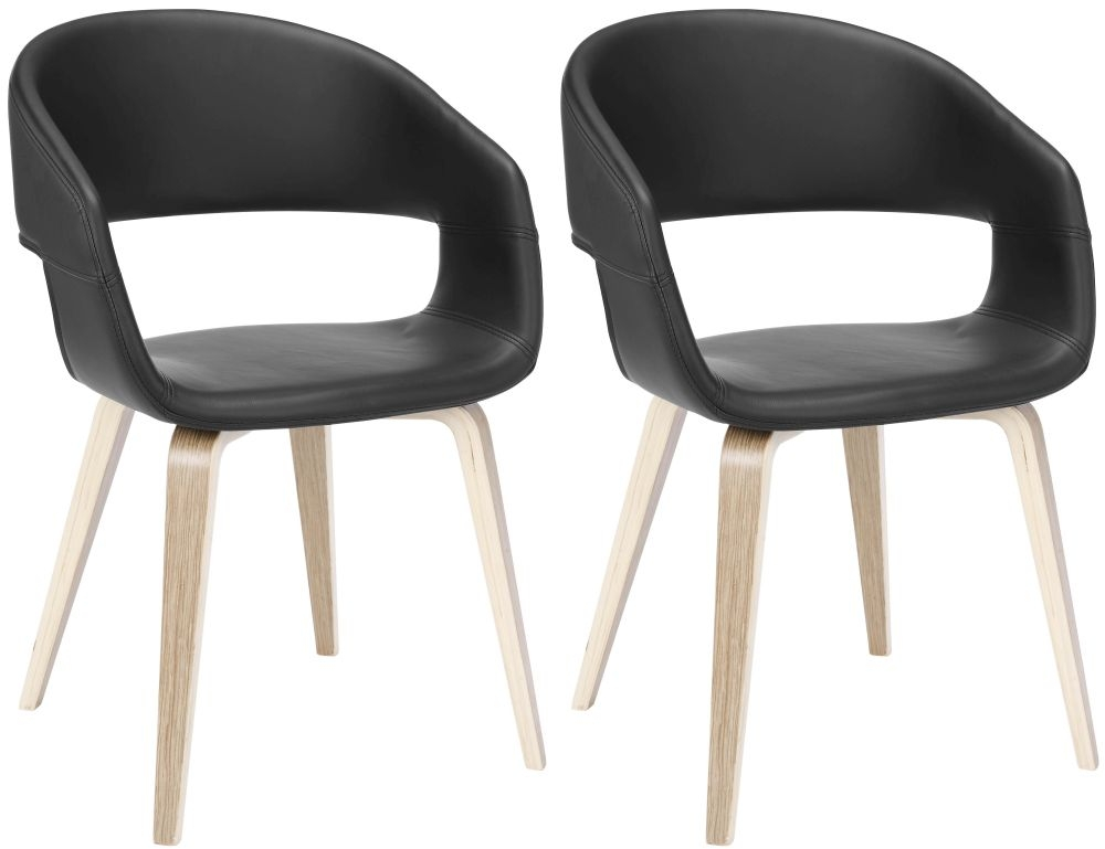 Nome Black Faux Leather Dining Chair (Pair)