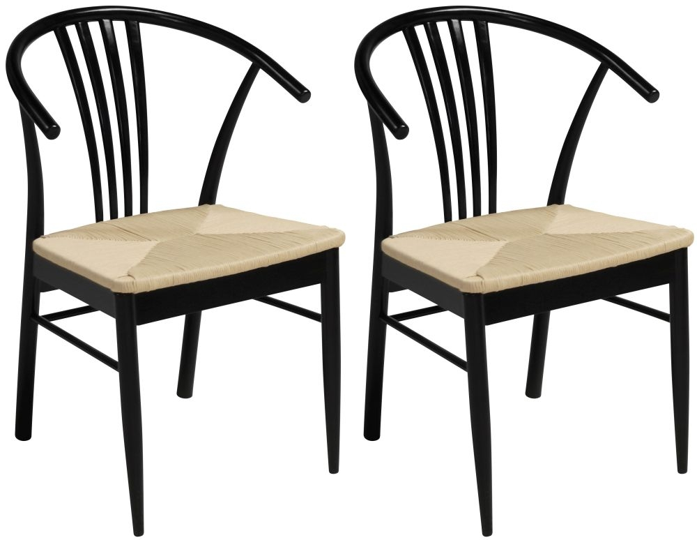 Yuma Black Stained Dining Chair (Pair)