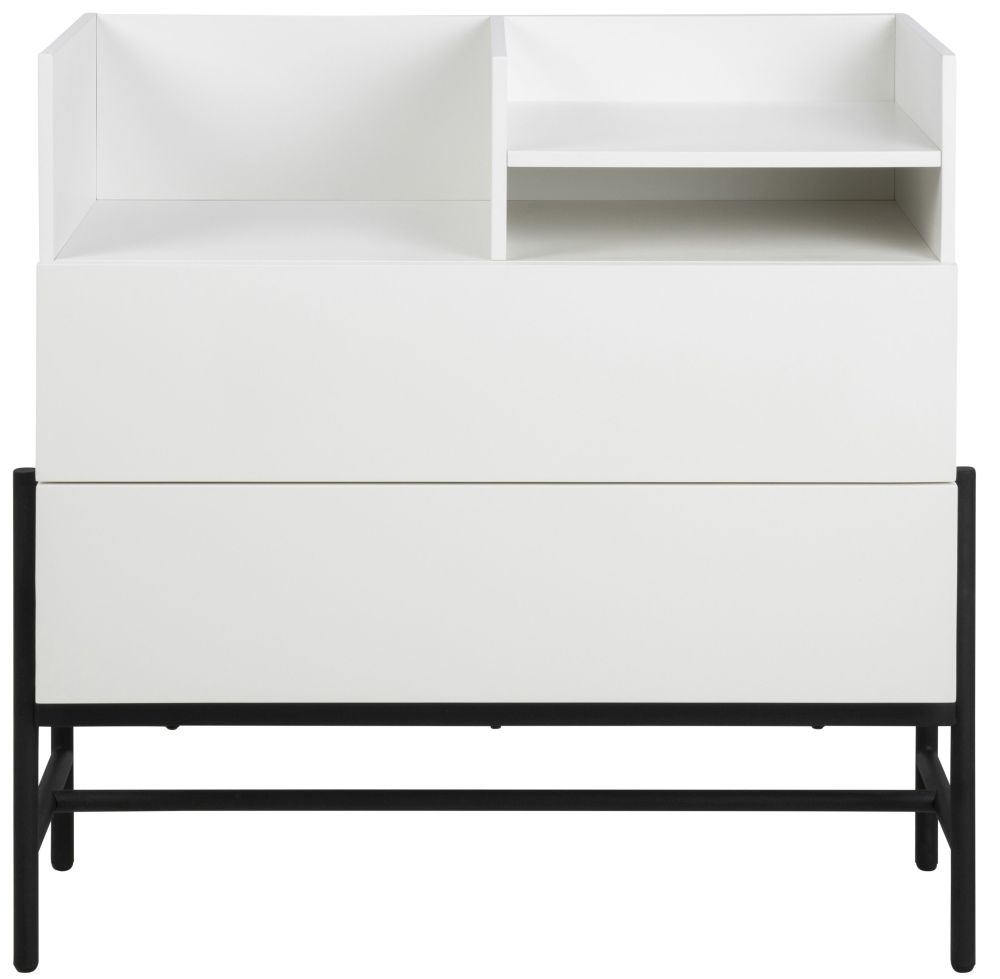 Nevis White 2 Drawer Chest with Black Metal Legs
