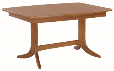 Nathan Classic Teak Boat Shaped Extending Double Pedestal Dining Table