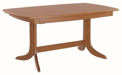 Nathan Classic Teak Boat Shaped Large Extending Double Pedestal Dining Table