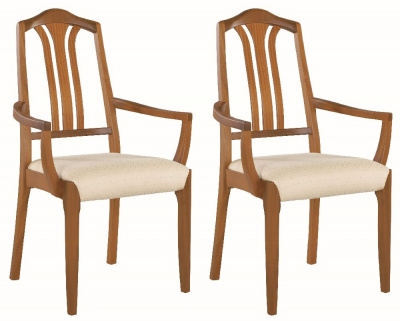 Nathan Classic Teak Carver Dining Chair (Pair)