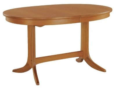 Nathan Classic Teak Oval Extending Double Pedestal Dining Table