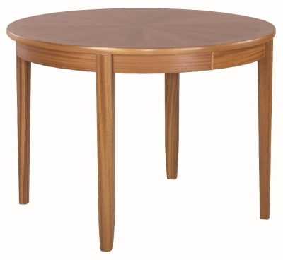 Nathan Classic Teak Round Extending Dining Table with Sunburst Top
