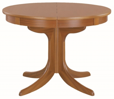 Nathan Classic Teak Round Extending Single Pedestal Dining Table