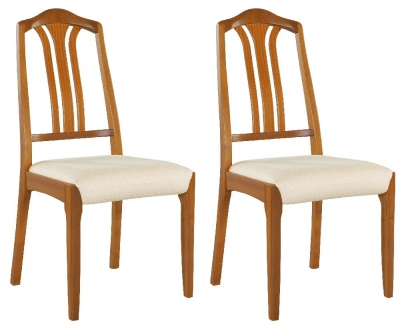 Nathan Classic Teak Slatted Back Dining Chair (Pair)