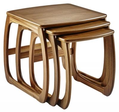 Nathan Classic Teak Burlington Nest of 3 Tables