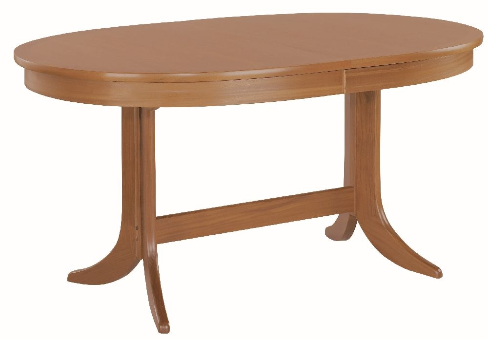 Nathan Classic Teak Oval Large Extending Double Pedestal Dining Table