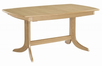 Nathan Shades Oak Boat Shaped Large Extending Double Pedestal Dining Table