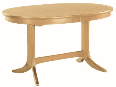 Nathan Shades Oak Oval Extending Double Pedestal Dining Table