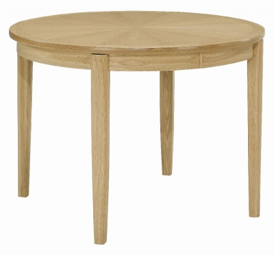 Nathan Shades Oak Round Extending Dining Table