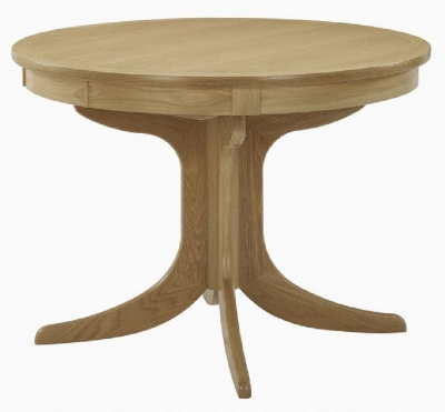 Nathan Shades Oak Round Extending Single Pedestal Dining Table