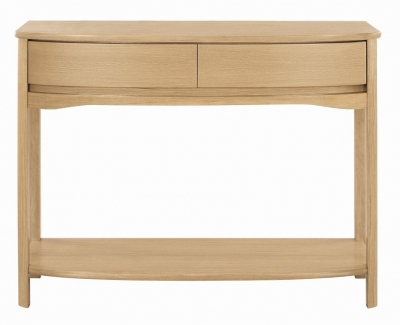 Nathan Shades Oak Curved Console Table