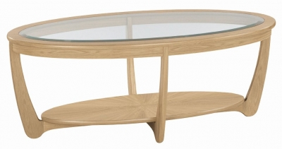 Nathan Shades Oak Oval Coffee Table with Glass Top