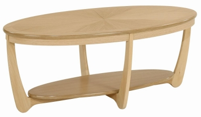 Nathan Shades Oak Oval Coffee Table with Sunburst Top