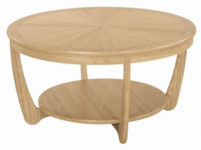 Nathan Shades Oak Round Coffee Table with Sunburst Top
