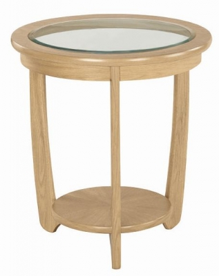 Nathan Shades Oak Round Lamp Table with Glass Top