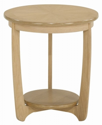 Nathan Shades Oak Round Lamp Table with Sunburst Top
