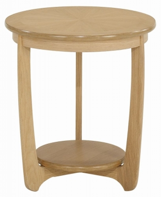 Nathan Shades Oak Round Large Lamp Table with Sunburst Top