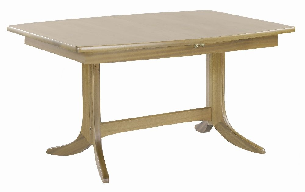 Nathan Shades Oak Boat Shaped Extending Double Pedestal Dining Table