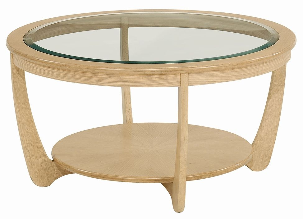 Nathan Shades Oak Round Coffee Table with Glass Top