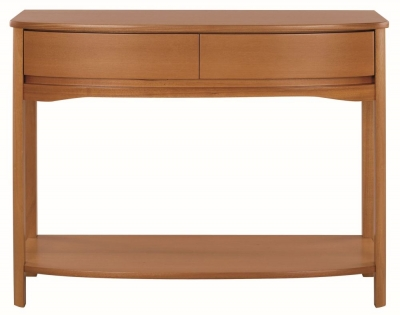 Nathan Shades Teak Curved Console Table