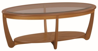 Nathan Shades Teak Oval Coffee Table with Glass Top