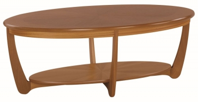 Nathan Shades Teak Oval Coffee Table with Sunburst Top