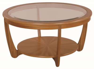 Nathan Shades Teak Round Coffee Table with Glass Top