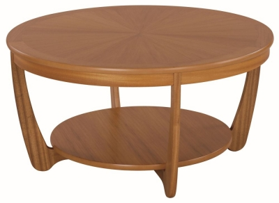Nathan Shades Teak Round Coffee Table with Sunburst Top