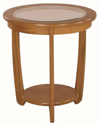 Nathan Shades Teak Round Lamp Table with Glass Top