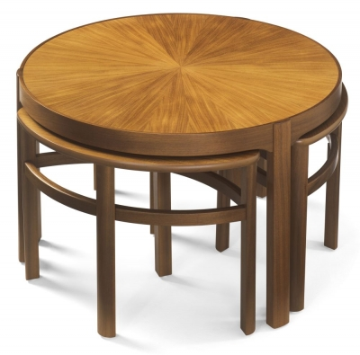 Nathan Shades Teak Trinity Nest of Coffee Table with Sunburst Top