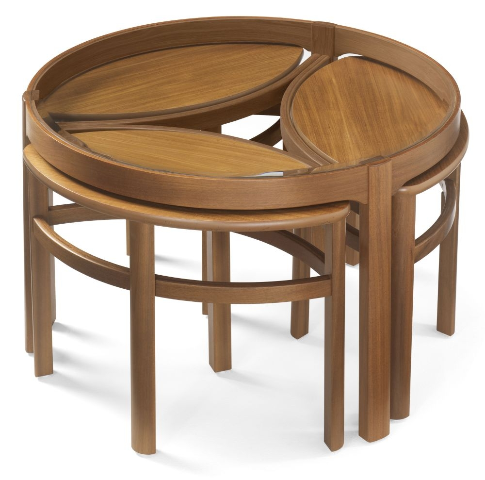 Nathan Shades Teak Trinity Nest of Coffee Table with Glass Top