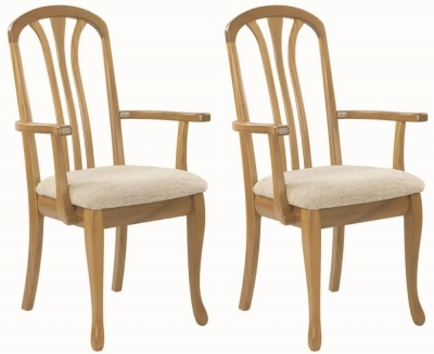 Nathan Trafalgar Arran Carver Slatted Back Dining Chair (Pair)