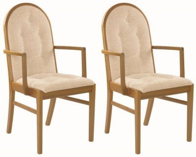 Nathan Trafalgar Droxford Carver Upholstered Dining Chair (Pair)