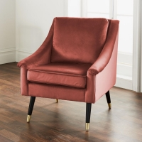 Rose Velvet Fabric Armchair