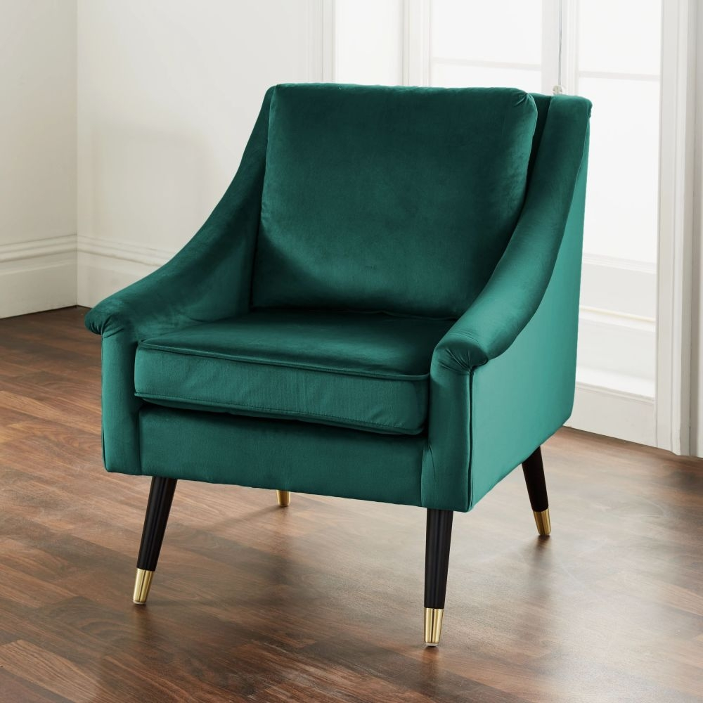 Green Velvet Fabric Armchair