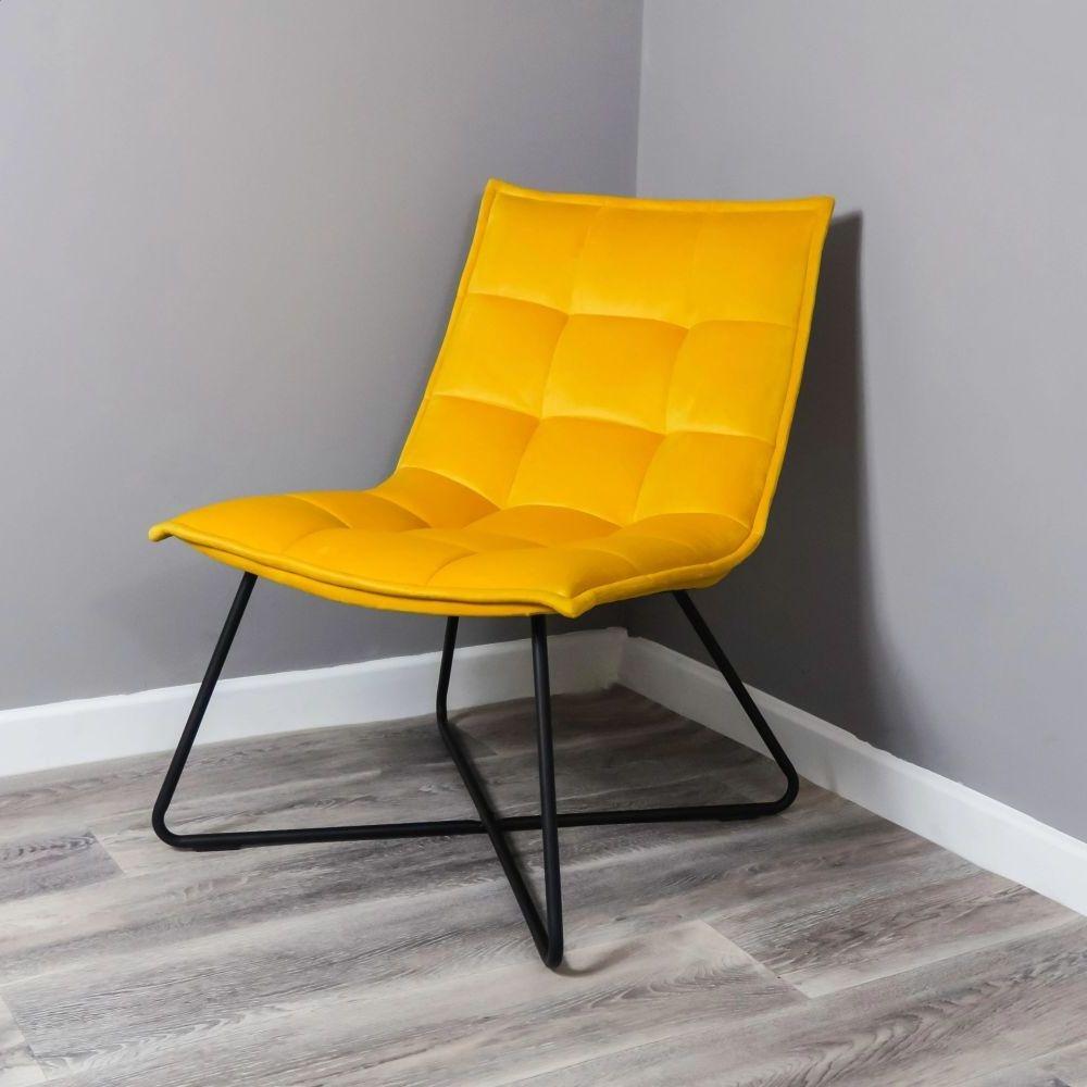 Yellow Velvet and Black Armchair