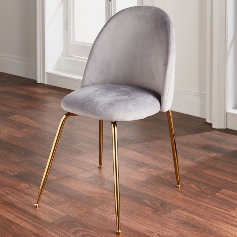 Grey Velvet and Metal Dining Chair (Set of 2)