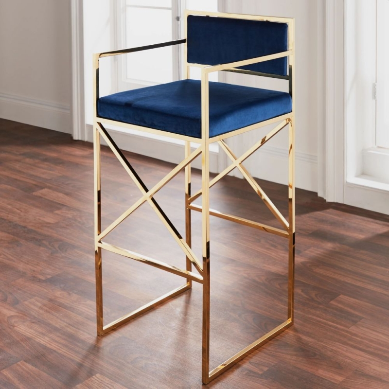 Navy Blue and Golden Barstool