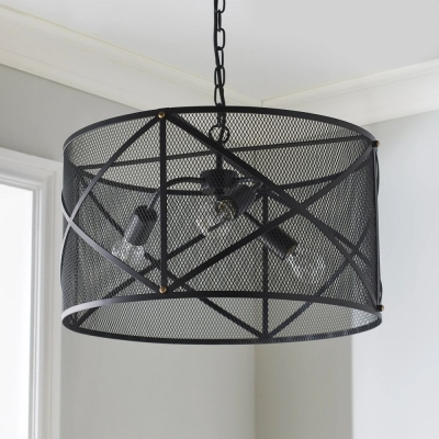 Industrial Mesh Cage Black Ceiling Pendant Light