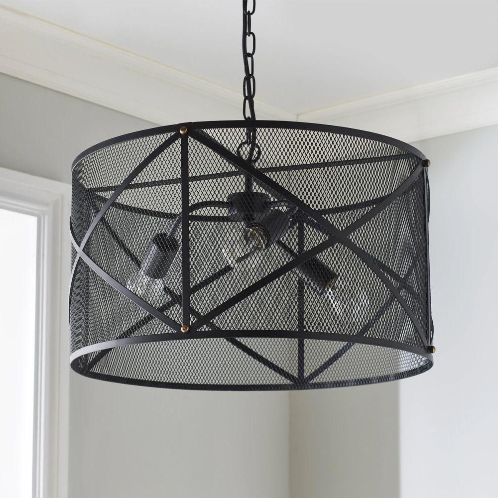 Industrial Mesh Cage Black Ceiling Pendant Light